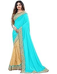 G Stuff Fashion Women Lycra party wear saree With Blouse Piece_saree_Sargam_Cyan_saree