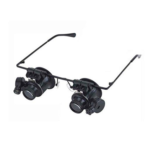 Demino 20x Kopf trägt Loupe beobachten Reparaturarbeiten Binokularlupe 9892A-II mit LED-Lampe Juwelier-Uhr-Reparatur-Vergrößerungs