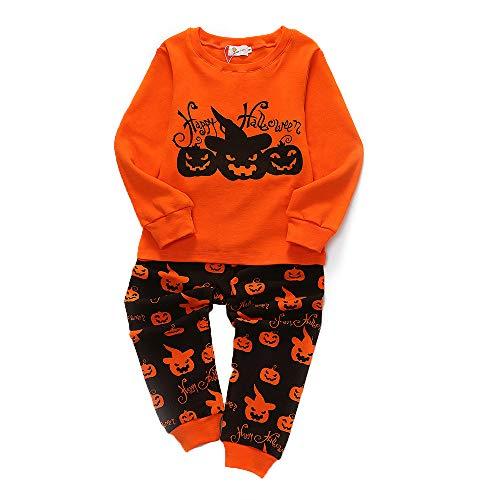 (Jungen Mädchen Schlafanzug Pyjamas Kürbis Druck Baumwolle Langarm PJS Set Halloween Nachtwäsche)