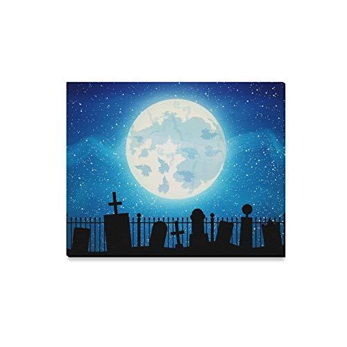 JOCHUAN Wandkunst Malerei Friedhof Friedhof Grab Vollmond Halloween Drucke Auf Leinwand Das Bild Landschaft Bilder Öl Für Zuhause Moderne Dekoration Druck Dekor Für Wohnzimmer