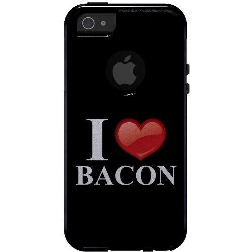 r iPhone 5 / 5S / Se Otterbox Commuter Gewohnheits-Fall Schwarz Weiß Rot I Herz-Speck auf schwarzem Etui ()