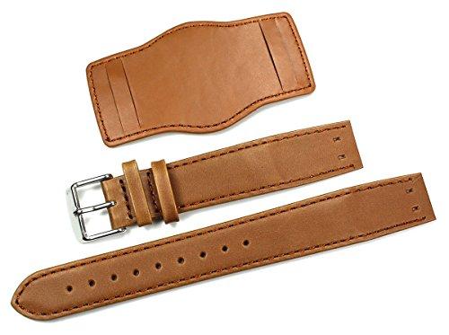 Lederband/Uhrenarmband/Uhrenband 20 mm für Feste Stege Band mit Unterlage Fliegeruhren Retro Look Strap Brown/braun Bund