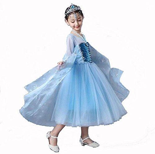 Mädchen Prinzessin ELSA Kostüm weiß Netzärmelkleid Cosplay Halloween Geburtstag Party Kleid Fasching, ()