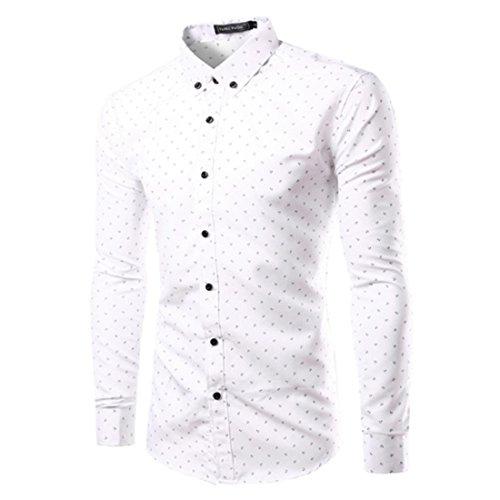 Men's Fashion Printed Slim Fit Long Sleeve Formal Shirts Anchors