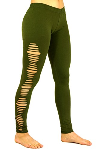 Guru-Shop Psytrance, Goa Damen Leggings Hose, Festival Yogahose, Olive, Baumwolle, Size:38, Shorts, 3/4 Hosen, Leggings Alternative Bekleidung
