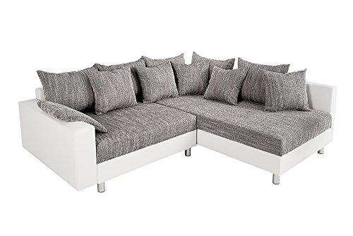 Design Ecksofa mit Hocker LOFT weiss Strukturstoff grau Federkern Sofa OT beidseitig aufbaubar - 9