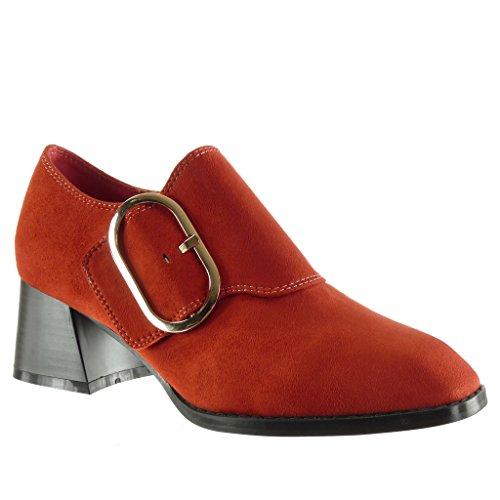Angkorly - Zapatillas de Moda Botines Low Boots Mujer Hebilla Tanga Talón...