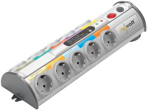 revolt Stromleiste: 10-Fach-Multimedia-Steckdosenleiste mit Überspannungsschutz (Steckleiste) - Fußschalter-leiste