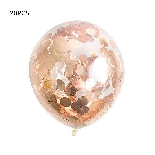 Große Ballons mit schillerndem Konfetti, 20 Stück, 30 cm Durchmesser, aus Latex, für Hochzeiten, Geburtstage, Junggesellinnenabschied, Verlobungsparty Rose Gold Dots