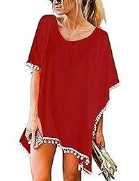 Mujers Gasa Suelto Borla Vestido de Playa Verano Trajes de Baño Cubrir Tapa de Bikini Color