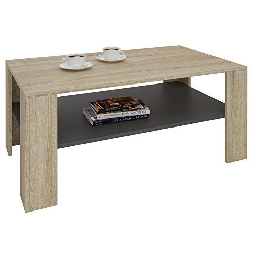 CARO-Möbel Couchtisch Wohnzimmertisch ANIMO in Sonoma Eiche/Grau mit Ablage, 100 x 60 cm