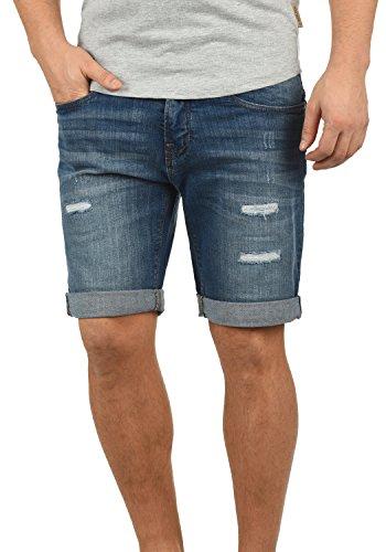 Indicode Hallow Herren Jeans Shorts Kurze Denim Hose mit Destroyed-Optik aus Stretch-Material Slim Fit, Größe:S, Farbe:Medium Indigo (869) (Jeans Medium Indigo)