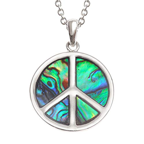 Seashore Schmuck Damen Halskette mit Peace-Zeichen aus nachhaltiger Abalone-Muschel auf 45,7 cm hypoallergen Kette mit Geschenkbox (Zeichen Lichter Und Peace)