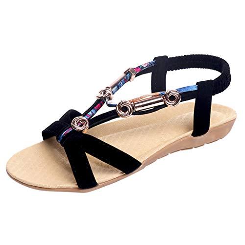 Damen Sandalen, Frauen Mädchen böhmischen Mode Flache beiläufige Sandalen Strand Sommer Flache Schuhe Frau Geschenk