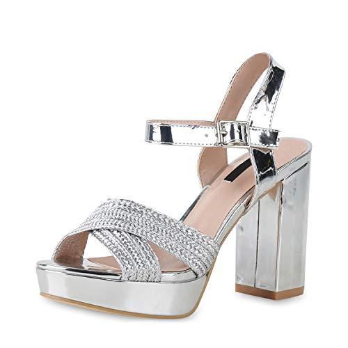 SCARPE VITA Damen Pumps Plateau Sandaletten Party Schuhe Blockabsatz High Heels Metallic Absatzschuhe Lack Abendschuhe 181262 Silber Metallic 36