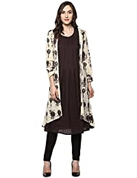 Janasya Women's Brown Printed Jacket Style Cotton Kurti