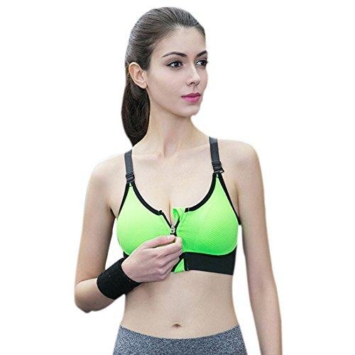 Keysui Sexy Brassiere Soutien-Gorge de Sport Push Up Zippee Rembourre Sans Armature Underwear Bra Vert