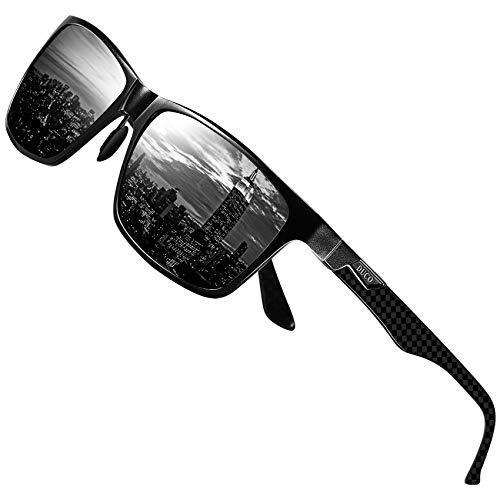 DUCO Herren Polarisierte Sonnenbrille mit Rechteckig Metallrahmen und Kohlefaser Brillenbügel UV400 CAT 3 CE 8206 (Schwarz Rahmen Grau Linse) -
