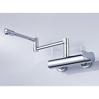 41lJen%2BO5IL. SS324  - STOWNN grifo de cocina empotrado en la pared Fregadero de agua fría y caliente Fregadero de lavabo giratorio giratorio grifo de válvula de mezcla plegable