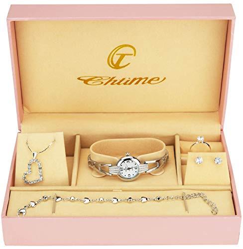 Cofanetto orologio donna - parure di gioielli- collana-anello- orecchini