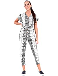 25ca037945 New Women Ladies Animal Snake Printed Button Up Front Jumpsuit Playsuit All  one