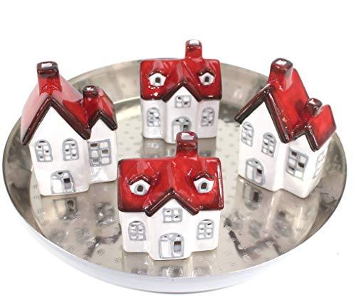 qm Adventsgesteck Adventskranz Tischdeko Tablett Silber Metall + LED Häuser ~vds890