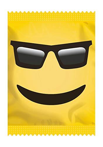 EXS Condoms dünnes, aber starkes, seidiges Latex-Kondom-Set mit lächelndes Gesicht-Motiv-Verpackung 100 Stk, 1530 g
