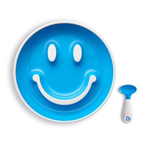 Munchkin Smile 'n Scoop Set de cuchara y plato con ventosa (azul)