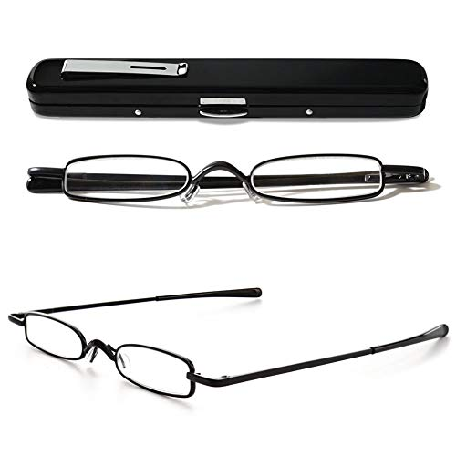 VEVESMUNDO Lesebrillen Schmal Metall Federscharnier Klassische Damen Herren Klein Mini Leicht Lesehilfe Sehhilfe Brillen mit Etui 1.0 1.5 2.0 2.5 3.0 3.5 4.0 (1 Stück Schwarz Lesebrille, 2.5)