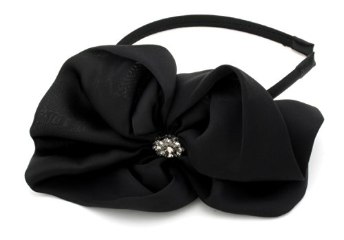 Black Fascinator Alice Band with Fabric Bow & Gems Hair Accessories by Zest by Zest