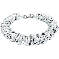 ParticolarModa Bracciale stile dodo nodini intrecciato lucido diamantato per donna in alluminio e acciaio argentato dorato 12 mm