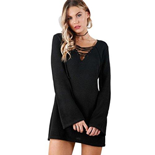 Rcool Fshion Feminine Mode Bandage Langarm Kleid Lässig V-Ausschnitt Kleid Schwarz