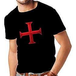 lepni.me Camisetas Hombre El templarios - Cruz de Templar (Small Negro