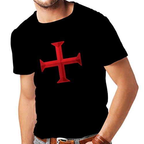 Männer T-Shirt Die Ritter Templar - Templer kreuzen (Medium Schwarz Mehrfarben)