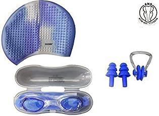 ans Blue White Swimming Kit Combo : 1 Swimming Bubble Cap,1 Anti Fog Goggles.1 Nose Clip & 2 Ear Plugs