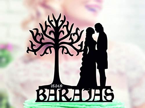 Ethelt5IV Hochzeitstorte Topper Arwen und Aragorn mit weißem Baum von Gondor Lord of Rings Topper Einzigartiger Topper Topper mit Nachname und Datum (Einzigartige Hochzeitstorte Topper)