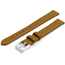 Fine Calf Leather Watch Strap Band 8mm Tan with Chrome (Silver Colour) Buckle. Free Spring Bars (Watch Pins)