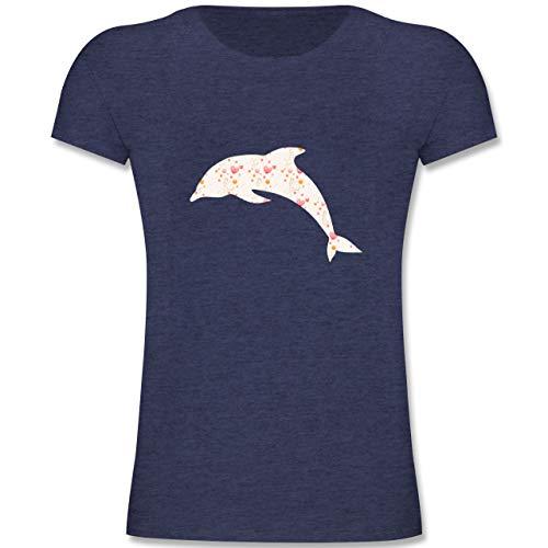 Tiermotive Kind - Delfin Herzen - 116 (5-6 Jahre) - Dunkelblau Meliert - F131K - Mädchen Kinder T-Shirt