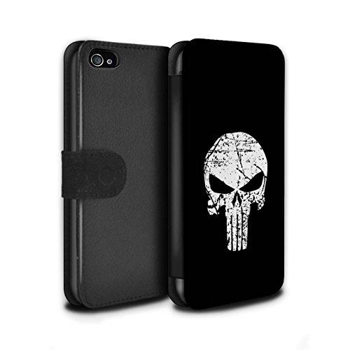 Stuff4® PU-Leder Hülle/Case/Tasche/Cover für Apple iPhone 4/4S / Punisher Inspiriert Muster/Antiheld Comic-Kunst Kollektion (Marvel-comic-iphone Fälle 4)