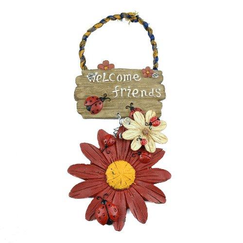 Türschild Weiße Schöne Blumen und Marienkäfer, Kunstharz, Kunstharz, handbemalt, Willkommensschild für Tür, Zuhause, Garten Rot -