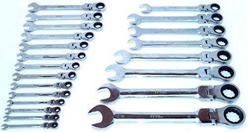 SYTO24, 22tlg. Gelenk-Ratschen-Schlüssel, Maul-Schlüssel-Satz, 72 Zähne - 5° Rückstellwinkel, SW: 6-32mm, Ringratschen aus Chrom-Vanadium-Stahl, stufenloser Gelenkwinkel