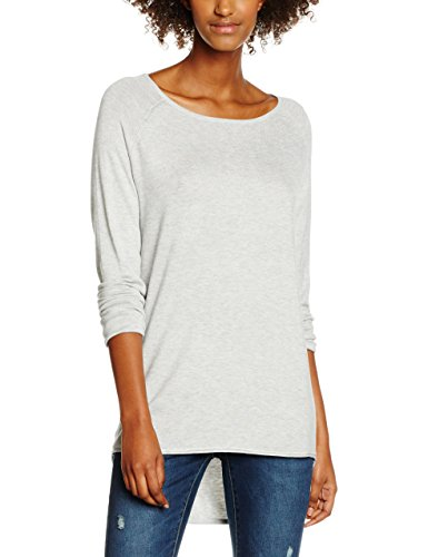 ONLY Damen Onlmila Lacy L/S Long Pullover Knt Noos, Grau (Light Grey Melange), 36 (Herstellergröße: S)