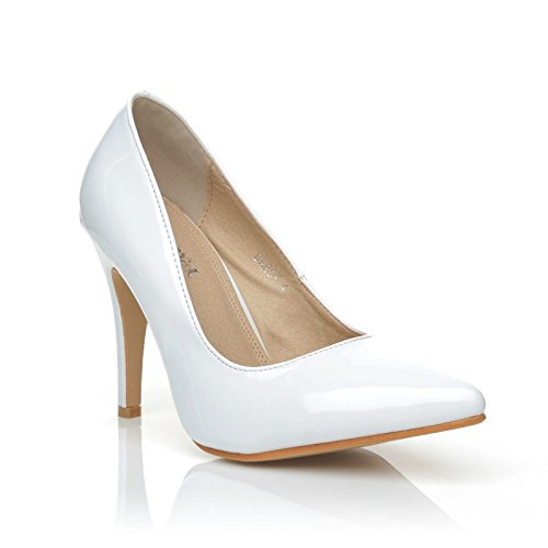 DARCY White Patent PU Leather Stilleto High Heel Pointed Court Shoes