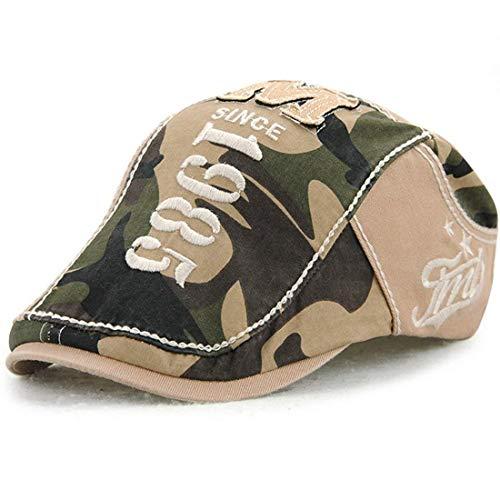 Herren Baskenmütze Mode Outdoor Gatsby Kappe Newsboy Camouflage Bequeme Flat Cap Schiebermütze Schirmmütze (Color : Beige, Size : One Size)
