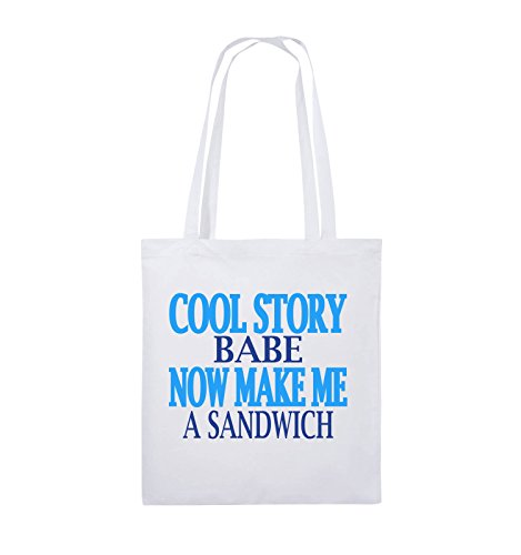 Comedy Bags - Cool Story Babe. Now Make me a Sandwich - Jutebeutel - Lange Henkel - 38x42cm - Farbe: Weiss/Royalblau-Hellblau Babe-outfit