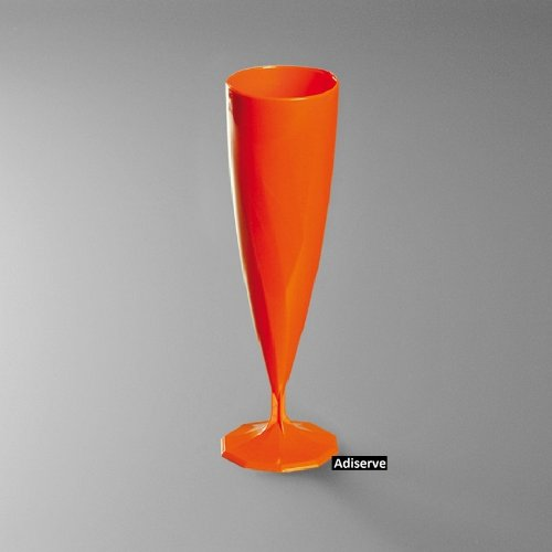 10 flûtes à champagne plastique jetables couleur orange