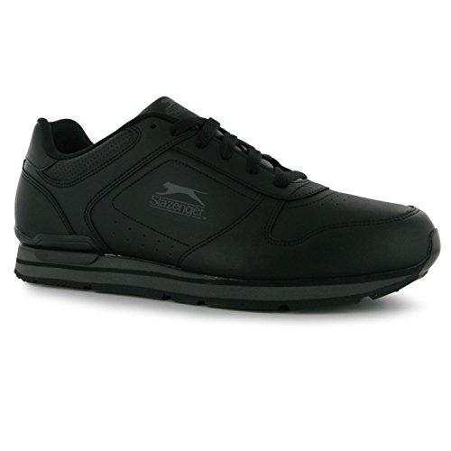 Slazenger Classic Herren Turnschuhe Leder Sneaker Sport Schuhe Schnuerschuhe Schwarz/Dunkelgrau 14 (48) (Schuhe Klassische Herren Leder Turnschuhe)