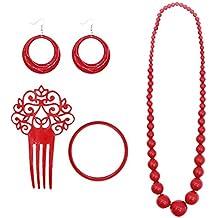 14af937fc0f5 Set Accesorios Flamenca Sevillanas Rojo (4 PCS)
