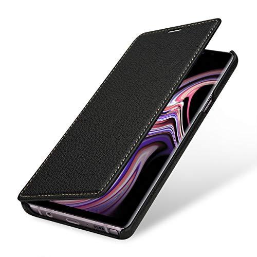 StilGut Book Type Lederhülle für Samsung Galaxy Note 9. Seitlich klappbares Flip-Case aus Echtleder, Schwarz