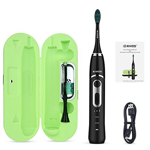 Elektrische Zahnbürste, Kivos Schallzahnbürsten IPX7 Wasserdicht mit Desinfektion Zahnbürste Box LED UV-Licht Zahnbürste Fall, mit Visueller Andruckkontrolle & Timer, 2 Aufsteckbürsten (Schwarz)